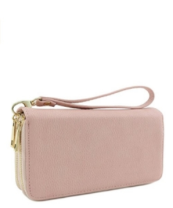 Double Zip Around Wristlet Wallet WU0002 PINK