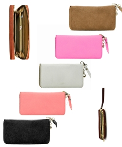 Fashion Leather One Zip Wallet Pack of 12 WU0005 assorted