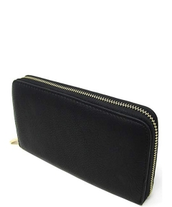 Solene Women's Clutch Faux Leather Zipper Purse Credit Card Wallets WU0007
