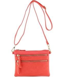 Multi-Pocket Zip Crossbody Bag with Small Wrist Strap WU001 CORAL