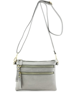 Multi-Pocket Zip Crossbody Bag with Small Wrist Strap WU001 LIGHT PEWTER