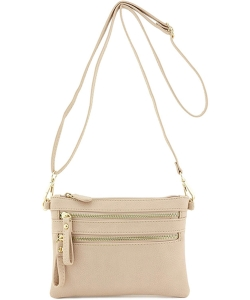 Multi-Pocket Zip Crossbody Bag with Small Wrist Strap WU001 NUDE