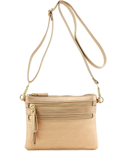 Multi-Pocket Zip Crossbody Bag with Small Wrist Strap WU001 ROSEGOLD