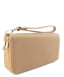 Double Zip Around Wristlet Wallet WU0012 KHAKI