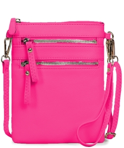 Women's Faux Leather Organizer Crossbody Bag WU002 NPINK