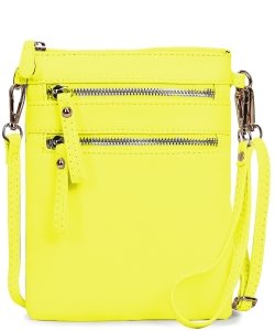 Women's Faux Leather Organizer Crossbody Bag WU002 NYELLOW