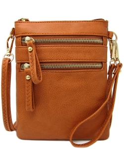 Women's Faux Leather Organizer Crossbody Bag WU002 TOPAZ