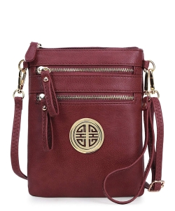 Women's Rich Faux Leather Organizer Multi Zipper Pockets Crossbody Bag WU002L BURGUNDY