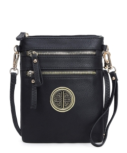 Women's Rich Faux Leather Organizer Multi Zipper Pockets Crossbody Bag WU002L BLACK