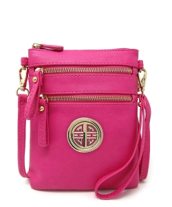 Women's Rich Faux Leather Organizer Multi Zipper Pockets Crossbody Bag WU002L FUSCHIA