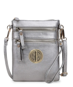 Women's Rich Faux Leather Organizer Multi Zipper Pockets Crossbody Bag WU002L LPEWTER