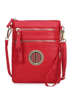 Women's Rich Faux Leather Organizer Multi Zipper Pockets Crossbody Bag WU002L RED