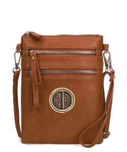 Women's Rich Faux Leather Organizer Multi Zipper Pockets Crossbody Bag WU002L TAN