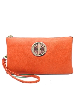 Womens Multi Compartment Functional Emblem Crossbody Bag With Detachable Wristlet WU020L CARROT