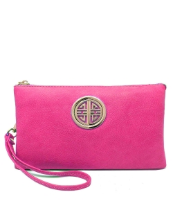 Womens Multi Compartment Functional Emblem Crossbody Bag With Detachable Wristlet WU020L FUSCHIA