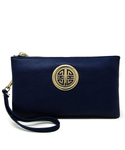 Womens Multi Compartment Functional Emblem Crossbody Bag With Detachable Wristlet WU020L NAVY