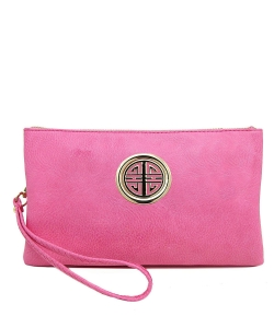Womens Multi Compartment Functional Emblem Crossbody Bag With Detachable Wristlet WU020L PINK