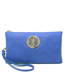 Womens Multi Compartment Functional Emblem Crossbody Bag With Detachable Wristlet WU020L RBLUE