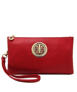 Womens Multi Compartment Functional Emblem Crossbody Bag With Detachable Wristlet WU020L RED