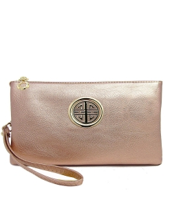 Womens Multi Compartment Functional Emblem Crossbody Bag With Detachable Wristlet WU020L ROSEGOLD