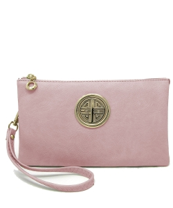 Womens Multi Compartment Functional Emblem Crossbody Bag With Detachable Wristlet WU020L ROSEPINK