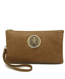 Womens Multi Compartment Functional Emblem Crossbody Bag With Detachable Wristlet WU020L STONE