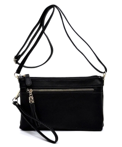 2 Compartments Messager Bag Designer  WU021 BLACK