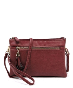 2 Compartments Messager Bag Designer  WU021 BURGUNDY