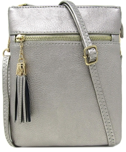 Fashion Multi Compartment Cross Body Bag WU022 PEWTER
