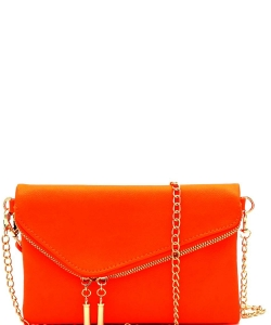 Fashion Evening Envelope Fold Over Clutch Wristlet Purse Cross Body Bag WU023 NEON CORAL