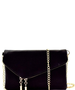 Fashion 2 Way Flap Clutch Bag WU023 BLACK