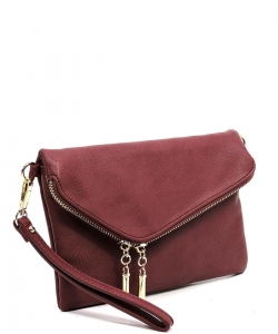 Faux Leather Clutch Purse WU023 BURGANDY
