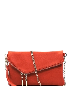 Fashion 2 Way Flap Clutch Bag WU023 CARROT
