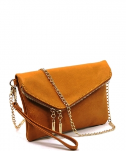 Faux Leather Clutch Purse WU023 MUSTARD