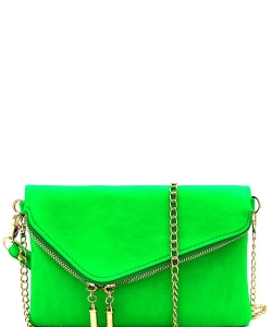 Fashion 2 Way Flap Clutch Bag WU023 NEON GREEN