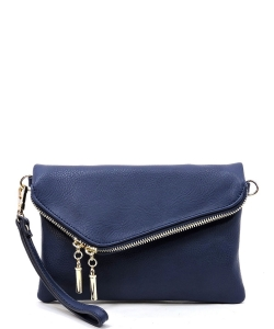 Faux Leather Clutch Purse WU023 NAVY
