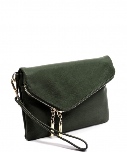 Faux Leather Clutch Purse WU023 OLIVE