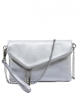 Fashion Evening Envelope Fold Over Clutch Wristlet Purse Cross Body Bag WU023 SILVER