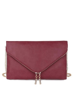 Large Clutch Design Faux Leather Classic Style WU024 BURGUNDY