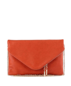 Large Clutch Design Faux Leather Classic Style WU024 CARROT
