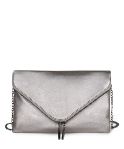 Large Clutch Design Faux Leather Classic Style WU024 LPEWTER