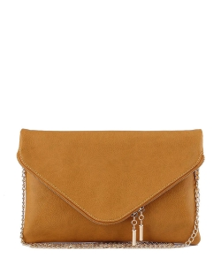 Large Clutch Design Faux Leather Classic Style WU024 MUSTARD