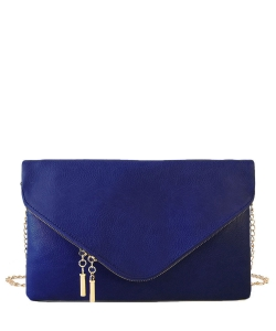 Large Clutch Design Faux Leather Classic Style WU024 NAVY