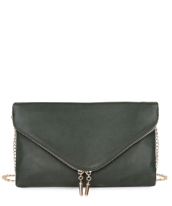 Large Clutch Design Faux Leather Classic Style WU024 OLIVE