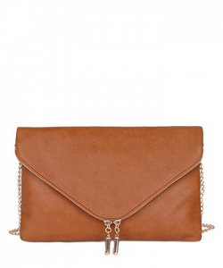 Large Clutch Design Faux Leather Classic Style WU024 TAN