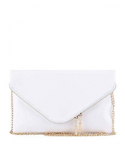 Large Clutch Design Faux Leather Classic Style WU024 WHITE