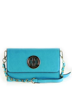 Designer  Inspired Clutch w strap WU027 Blue