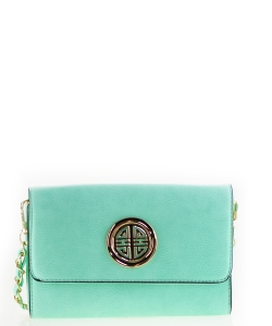 Designer  Inspired Clutch w strap WU027 Mint