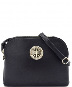 Messenger Handbag Design Faux Leather Classic Style WU040 NC BLACK