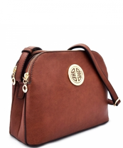 Messenger Handbag Design Faux Leather Classic Style WU040 NC COFFEE